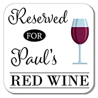 Personalised Red Wine Wooden Coaster Mat Gift Present