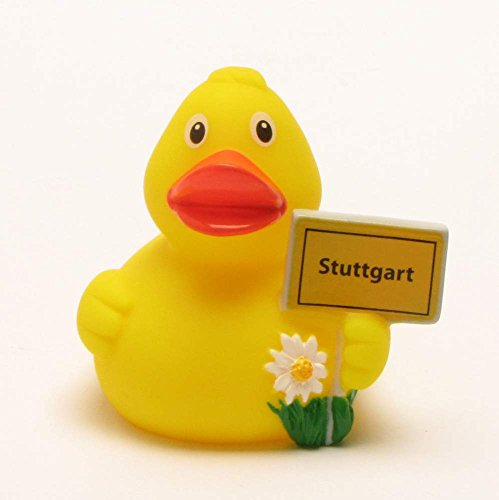 Duckshop I Badeente I Quietscheente I Stadtente Stuttgart I Quietscheentchen I L: 8 cm - inkl. Badeenten Schlüsselanhänger im Set