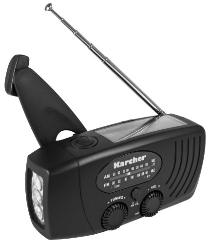Karcher KR 110 Kurbelradio (MW/UKW Radio, Powerbank, Survival, Outdoor) schwarz