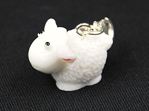 Miniblings Schaf 3D Charm Zipper Pull Anhänger Tier Lamm Ziege Wolle weiß -