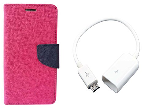 AUX MART Fancy Diary Flip Cover Case For Micromax Canvas Xpress 2 E313 Pink + Micro USB OTG Cable Attach Pendrive Card Reader Mouse Keyboard to Tablets Mobile  available at amazon for Rs.229