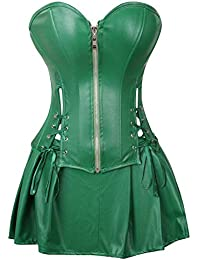 616119dbfa AIZEN Sexy Leather Corsets Skirt Burlesque Zip Steampunk Dresses Bustiers  Overbust Plus Size Lingerie