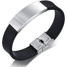 c97e1e4ff7ca Vnox De acero inoxidable de los hombres etiqueta de identificación de  silicona grabada gratis Mano cadena