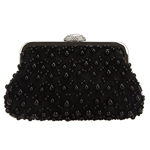 Bonjanvye Floret Pearl Clutch Purses for Women Evening Clutches for Wedding and Party Black -