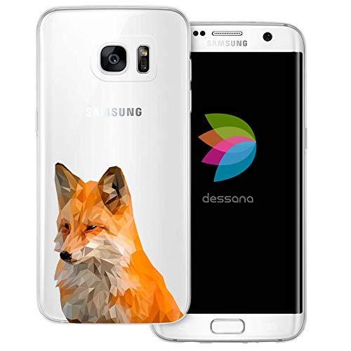 dessana Comic Füchse Transparente Schutzhülle Handy Case Cover Tasche für Samsung Galaxy S7 Edge Polygonal Fuchs