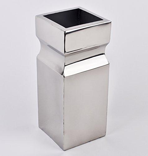 Vase eckig Edelstahl 40x12x12cm silber Design Luxus Dekoration