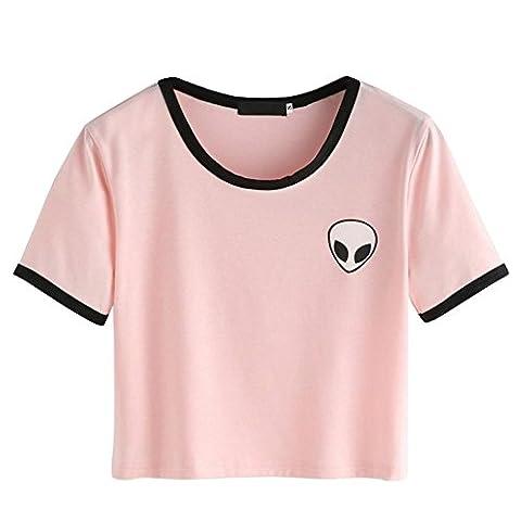 BOBORA Femmes Fille T-Shirt Top Manches Courtes Tops avec Alien Imprimé (Small, Rose)