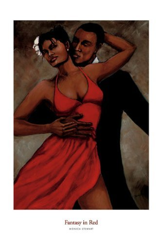 Fantasy in Red Monica Stewart African-American Print 24x36 Poster by Picture Peddler