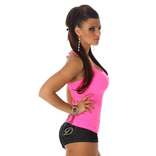 Jela London Damen T-Shirt Top Träger Shirt mit Spitze Rundhals Rücken-Stickerei Feinripp Pink