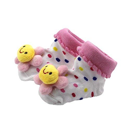HuaYang  Cute Baby Kid Toddler Newborn 3D Cartoon Short Sock Slipper Shoe Children Bootie(Sunflower)