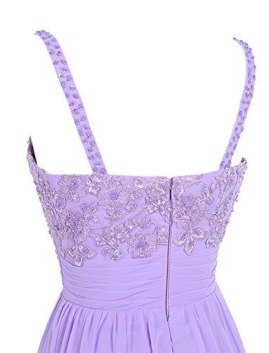 Dresstells Brautjungfernkleider Bodenlang Chiffon Abendkleider Abiballkleider Blau