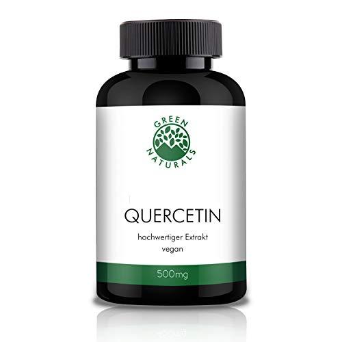 GREEN NATURALS Premium Quercetin - 120 hochdosierte Kapseln á 500mg aus deutscher Herstellung - 100% Vegan & Ohne Zusätze - Vorrat für 4 Monate. Bonus Venen Ratgeber (eBook)