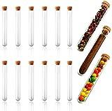 15 provette di plastica, provette di plastica con tappo in sughero naturale transparente Provetta per perline, caramelle, mandorle, ghiaia, fiori, tè, chicchi di cioccolato 150 × 20 mm, 30 ml