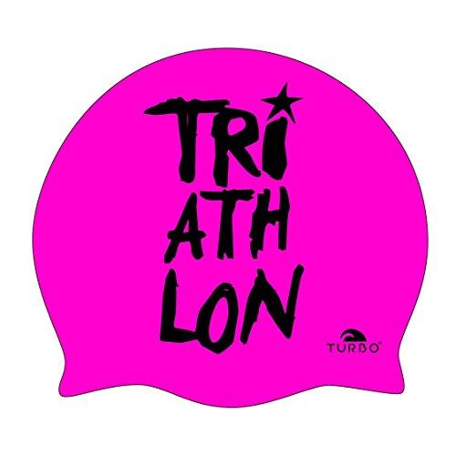 TURBO Badekappe TRIATHLON pink schwarz aus Silikon