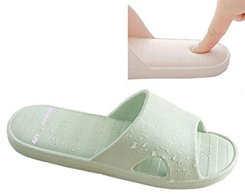 Happy Lily-Haus Hausschuhe rutschfeste Dusche Sandalen Pool Wasser Schuhe Bad-Hausschuhe mit Think Schaum Sohle, grün (Velvet Heels Lace)