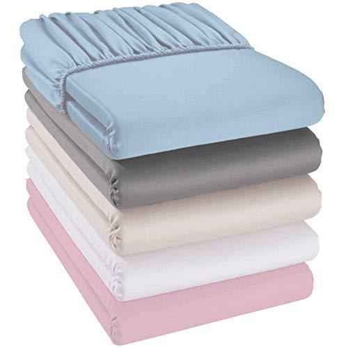 quschel® Kinder-Spannbettlaken grau 70x140cm aus 100% Bio-Baumwolle, GOTS zertifiziert