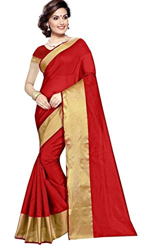 PMV Creation Women's Cotton Saree With Blouse Piece(PMV1039_Red)