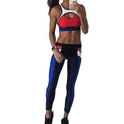 Le donne Sexy Splicing Halter Yoga Pantaloni Tute Sport Wrap Vest + Pantaloni Fitness Set Yoga Cross Strap Sportswear 2 pz/set