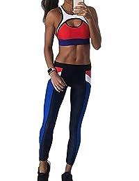 2 Unids / set Elasticidad Femenina Tops de Deportes + Yoga Footing Leggings Trajes de Entrenamiento de Fitness Ejecución de Trajes Ropa Deportiva Activewear Chándal