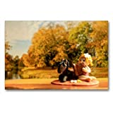Calvendo Premium Textil-Leinwand 90 cm x 60 cm quer, Herbst im Elfenland | Wandbild, Bild auf...