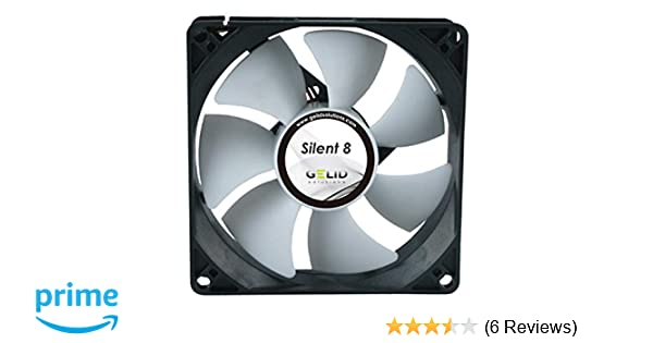 Gelid Silent 8 Case Fan / 80 x 80 x 25 mm / 12 V / 1600 rpm / 18 dBA /  3-Pin Molex/CE and RoHS Compliant