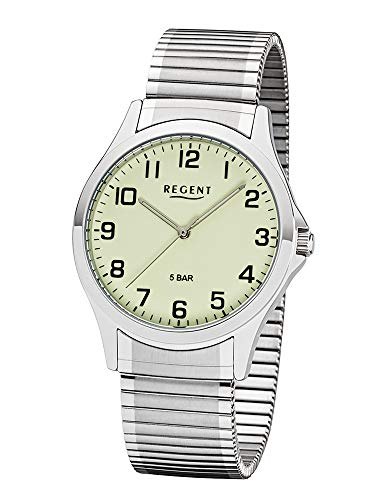 Regent W-0008 Montre analogique à Quartz pour Homme avec Bracelet en Acier Inoxydable