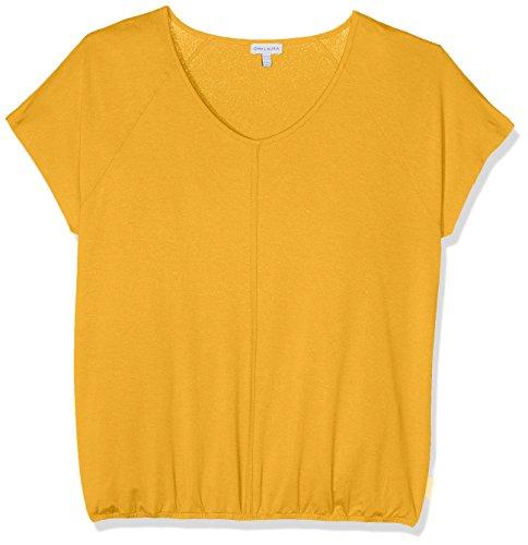 GINA LAURA Große Größen Damen T-Shirt Raglanshirt, Paspel, Gummibund Gelb (Hellgelb 61)