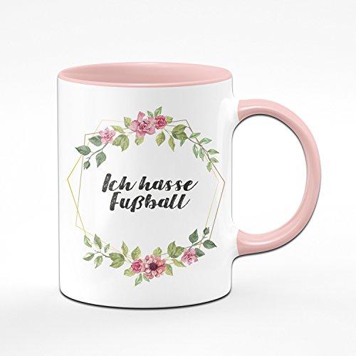 Tasse Ich Hasse Fussball - Kaffeetasse rosa - Anti Fußball - Geschenk für Kollegin/Arbeitskollegin - Scheiss Fussball - Anti Fussballer