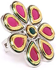 Zaveri Pearls Two Tone Pink Flower Ethnic Finger Ring For Women-ZPFK9525