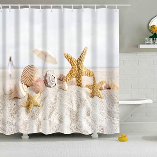 X-Labor Tenda da doccia colorata con albero, 240 x 200 cm, antimuffa, impermeabile, poliestere, tessuto, tenda per vasca da bagno, Stella marina, 180 * 200cm (BxH)