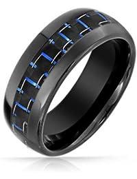 Bling Jewelry Negro de Carbono Anillo Tungsteno Etampado Azul Anillo de Boda