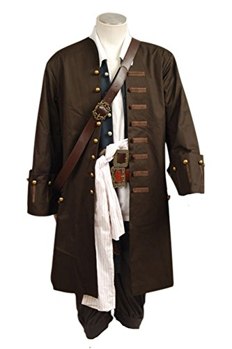 Pirates Of The Caribbean Jack Sparrow Jacke Weste Belt Shirt Hosen Kostüm Set (Piraten Jacke)