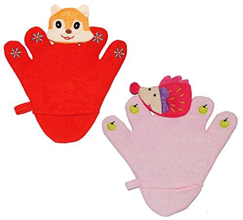 2 tlg. Set: 2 in 1: Waschhandschuhe + Handpuppen aus Frottee - für 5 Finger - 3-D Igel + Fuchs - Handspielpuppe / Tier Kinder Baby Waschlappen zum Spielen und Waschen baden