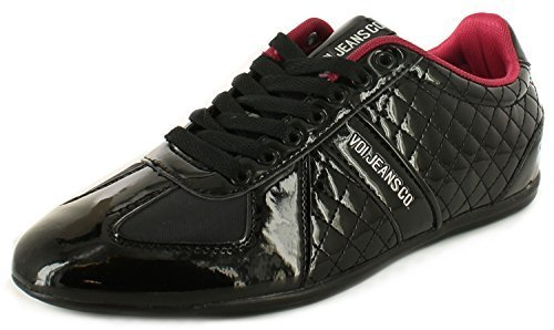VOI New Mens/Gents Black Quilted Patent Upper Casual Fashion Shoes – Black/Maroon – UK SIZE 9