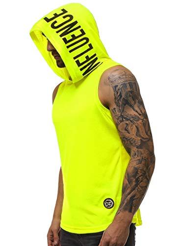 OZONEE Herren T-Shirt T Shirt Tshirt Kapuzenpullover Kurzarm Kurzarmshirt Kapuze Tee Top Sport Sportswear Rundhals U-Neck Rundhalsausschnitt Aufdruck Motiv Print 777/1832BO GELB-NEON XL