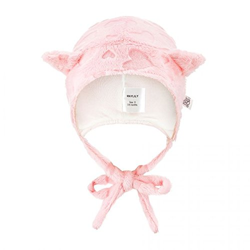 MayLily® Premium | SUPERCAT Winter Mütze Niedliche & Warme für Super Baby Neugeborene Kinder | 100% Bambus / Minky | 1-3 und 3-9 Monate | Antiallergisch | Made in EU | In vielen Farben (1-3 L rosa) (Hut Sherpa Baumwolle)