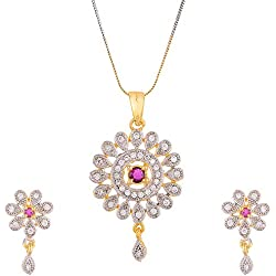 Zeneme American Diamond Designer Gold Plated Pendant Set with Earring Jewellery for Girls & Women