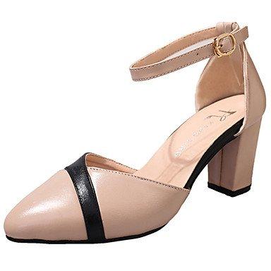 WIKAI Donna Comfort tacchi suole di luce PU abiti estivi Comfort suole Luce blocco fibbia tacco Beige nero 2A-2 3/4in,Black,US6 / EU36 / UK4 / CN36 Black