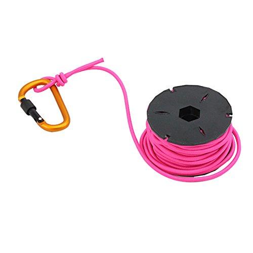Rosa Bungee-seile (PSKOOK Schock Seil Elastic Bungee Seil Outdoor Elastic Gummiseil mit Karabiner und Winder (Rosa))
