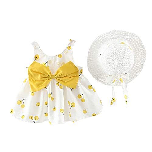 Stück Kleinkind Baby T-Shirt+Shorts Kurze Hosen +Sonnenhut Kind Mädchen Outfits Kleider Blumen Weste Sommerkleidung Chiffon Strampler Spielanzug (70, Gelb 3) ()