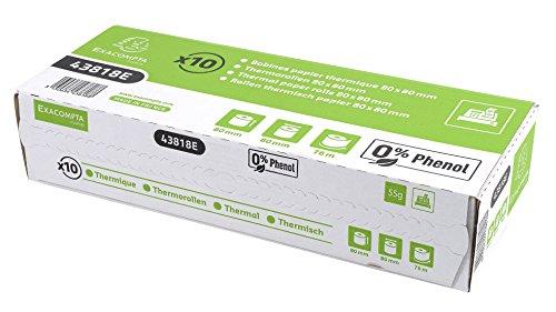 Exacompta 43818E Rolle 1-lagig thermisch (Longlife FSC, hohe Auflösung für Kassen, 55g, Breite: 80mm, Durchmesser Kern: 12mm, Länge: 78m, 8 x 8 x 8 cm) (Thermische Kreditkarte Papier)