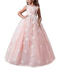 TTYAOVO Filles Pageant Princesse Robe De Fleur Enfants Prom Bal en Peluche Tulle Robes De Bal ,Rose,8-9 ans(140)