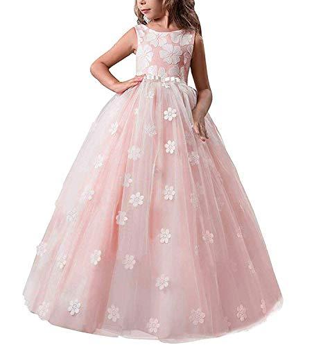 TTYAOVO Mädchen Pageant Prinzessin Blume Kleid Kinder Prom Puffy Tüll Ballkleider Größe 6-7 Jahre Rosa