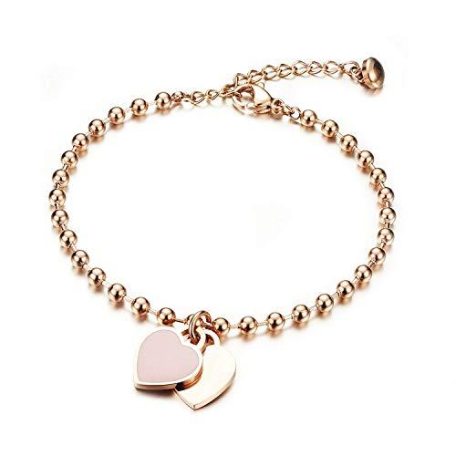 Gkmamrg Damen Armband mit Gravur Rosegold, Edelstahl Kugel dopplte Herz Anhänger Perlenkette Armkette Armreif mit Fußkette Panzerarmband (Herz Armband mit Geschenkbox)