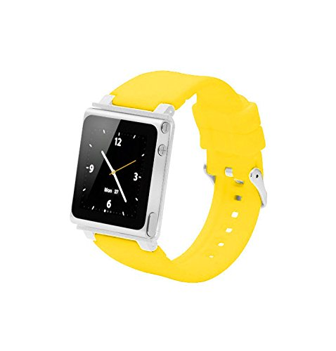 ZSTX Breit einstellbares Sport Uhrenarmband für Ipod Nano 6.Generation,Aluminiumgehäuse,Silikongürtel,Ipod Nano 6th Watch Band,Handschlaufe für iPod Nano 6G(OEM)(Gelb)