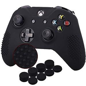 YoRHa Studded Silikon Hülle Abdeckungs Haut Kasten für Microsoft Xbox One X & Xbox One S Controller [Nach Modell 8.2016] x 1 (schwarz) Mit Pro aufsätze thumb grips x 8