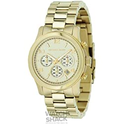 Michael Kors Mk5055 Ladies Sport Champagne Dial & Gold Plated Bracelet Watch