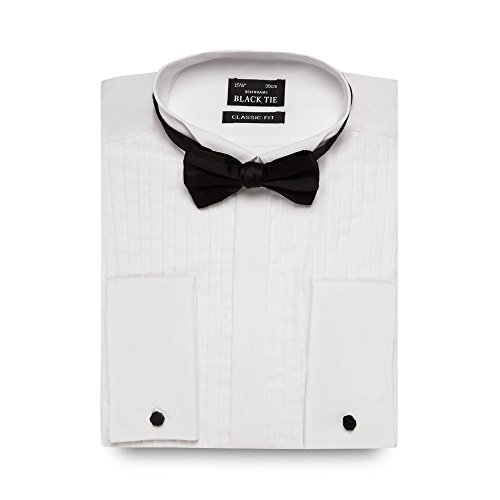 Black Tie Men White Regular Fit Pleated Shirt And Bow Tie