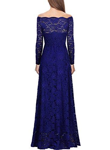 MIUSOL Robe de Soirée Dentelle Cocktail Longue Pour Mariage Femme,Robe de Fete épaules Dénudées Femme Vintage Retro Manches 3/4 Bright Bleu