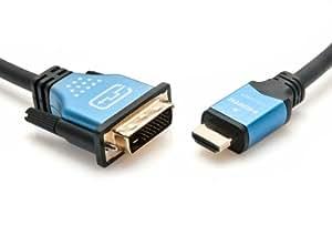 Câble adaptateur bi-directionnel haute vitesse HDMI à DVI mâle/mâle BlueRigger (1,8 m) avec connecteurs plaqués or (noir, bleu)